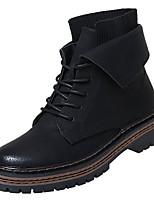 Недорогие -Жен. Полиуретан Зима На каждый день Ботинки На плоской подошве Круглый носок Сапоги до середины икры Черный / Коричневый