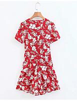 Недорогие -Жен. Повседневные Красный Комбинезоны, Геометрический принт S M L С короткими рукавами