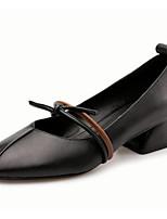 Недорогие -Жен. Наппа Leather Осень Обувь на каблуках На толстом каблуке Черный / Миндальный