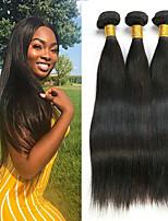 Недорогие -3 Связки Бразильские волосы Прямой Не подвергавшиеся окрашиванию Головные уборы Человека ткет Волосы Удлинитель 8-28 дюймовый Естественный цвет Ткет человеческих волос