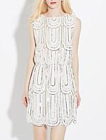 Недорогие -женская повседневная / вечеринка выше колена платье-линия белое черное одноразмерное