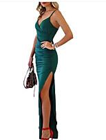 Недорогие -Жен. Для вечеринок Тонкие Облегающий силуэт Платье Глубокий V-образный вырез Макси / Сексуальные платья