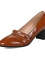 Недорогие -Жен. Наппа Leather Лето Обувь на каблуках На толстом каблуке Белый / Черный / Коричневый