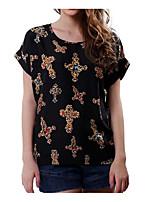 Недорогие -женская футболка - мультфильм / цветочная шея