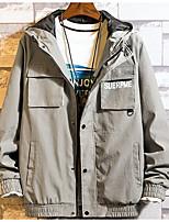 Недорогие -Муж. Повседневные Классический Осень Обычная Куртка, Однотонный Капюшон Длинный рукав Хлопок / Полиэстер Зеленый / Черный / Серый XL / XXL / XXXL