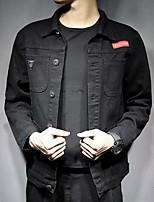 Недорогие -Муж. Повседневные Классический Осень Обычная Куртка, Однотонный Рубашечный воротник Длинный рукав Полиэстер Черный XXXL / XXXXL / XXXXXL
