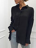 Недорогие -Жен. На выход Рубашка Рубашечный воротник Однотонный