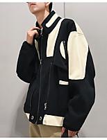 Недорогие -Муж. Повседневные Уличный стиль Наступила зима Обычная Куртка, Контрастных цветов Рубашечный воротник Длинный рукав Полиэстер Белый / Черный L / XL / XXL