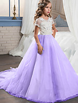 cheap -Princess Dress Flower Girl Dress Girls' Movie Cosplay A-Line Slip Purple / Pink / Blue Dress Children's Day Masquerade Tulle Cotton