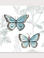 Недорогие -С картинкой Отпечатки на холсте - Животные Бабочки Modern