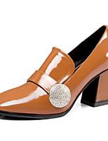 Недорогие -Жен. Наппа Leather Осень Милая / Минимализм Обувь на каблуках На толстом каблуке Заостренный носок Черный / Темно-коричневый / Хаки