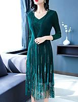Недорогие -Жен. Элегантный стиль Оболочка Платье - Однотонный, Сетка Средней длины