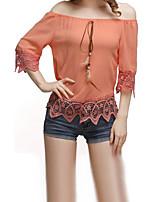 Недорогие -женская узкая блузка - сплошной цвет с плеча