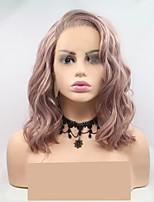 Недорогие -Синтетические кружевные передние парики Жен. Волнистый Розовый Стрижка каскад 130% Человека Плотность волос Искусственные волосы 12 дюймовый Женский Розовый Парик Короткие Лента спереди Розовый Sylvia