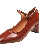 Недорогие -Жен. Полиуретан Весна Обувь на каблуках Блочная пятка Квадратный носок Черный / Вино