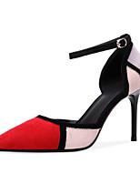 Недорогие -Жен. Замша / Овчина Весна Обувь на каблуках На шпильке Черный / Красный
