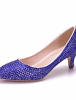 abordables -Femme Polyuréthane Printemps & Automne Doux Chaussures de mariage Kitten Heel Bout pointu Strass Bleu royal / Mariage
