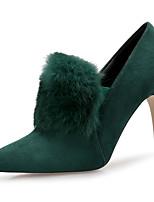 Недорогие -Жен. Кролик / Замша Наступила зима Милая / Минимализм Обувь на каблуках На шпильке Заостренный носок Черный / Темно-зеленый