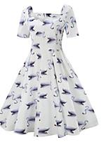 Недорогие -Жен. А-силуэт Платье - Геометрический принт, С принтом Средней длины