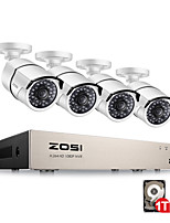Недорогие -zosi® 1080p (1920 x 1080p) система видеонаблюдения poe и 4 2-мегапиксельные уличные пули ip-камеры с 100-футовым ночным видением