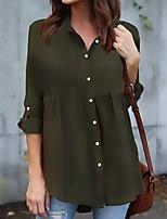 Недорогие -женская рубашка больших размеров - однотонный воротник