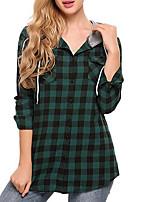 Недорогие -Жен. Рубашка Тонкие В клетку / Шахматка