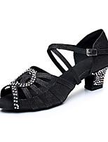 Недорогие -Жен. Обувь для латины Сатин / Синтетика На каблуках Кристаллы Кубинский каблук Персонализируемая Танцевальная обувь Черный