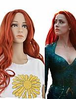 Недорогие -Парики из искусственных волос Кудрявый Красный Глубокое разделение Красный Искусственные волосы 24 дюймовый Жен. синтетический Красный Парик Длинные Без шапочки-основы