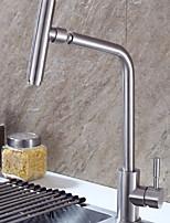 Недорогие -кухонный смеситель - Одной ручкой одно отверстие Матовая сталь Стандартный Носик Обычные Kitchen Taps