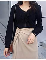 Недорогие -женская рабочая рубашка азиатского размера - сплошной цвет V-образным вырезом