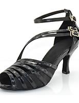 Недорогие -Жен. Обувь для латины ПВХ Сандалии На плоской подошве Персонализируемая Танцевальная обувь Черный / Телесный
