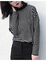 Недорогие -женская хлопковая тонкая футболка азиатского размера - полосатый шею