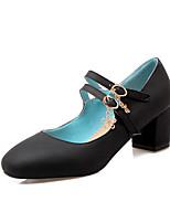 abordables -Femme Polyuréthane Printemps & Automne Rétro / Minimalisme Chaussures à Talons Talon Bottier Bout rond Noir / Rouge / Bleu
