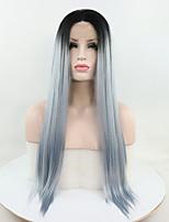 Недорогие -Синтетические кружевные передние парики Прямой Омбре Свободная часть Черный / синий 180% Человека Плотность волос Искусственные волосы 18-26 дюймовый Жен. Регулируется / Кружева / Жаропрочная Омбре