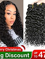 Недорогие -3 Связки Бразильские волосы Волнистые Необработанные натуральные волосы Головные уборы Человека ткет Волосы Сувениры для чаепития 8-28 дюймовый Естественный цвет Ткет человеческих волос