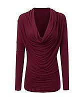 Недорогие -женская блузка больших размеров - однотонный с v-образным вырезом
