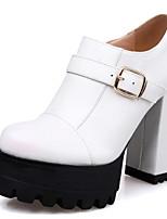 Недорогие -Жен. Микроволокно Весна Милая / Минимализм Обувь на каблуках На толстом каблуке Круглый носок Пряжки Черный / Светло-серый / Розовый