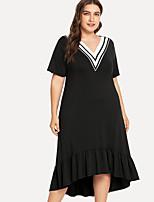 Недорогие -Жен. Классический Оболочка Платье - Однотонный / Полоски Средней длины