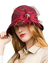 Недорогие -Чудесная миссис Мейзел Колпак шляпа шляпа Дамы Ретро Жен. Красное вино  Перья Конструкция САР Шерсть Перья костюмы