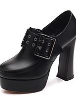 Недорогие -Жен. Полиуретан Весна Обувь на каблуках На толстом каблуке Черный / Коричневый
