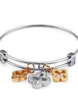 Недорогие -Жен. геометрический Браслет цельное кольцо - Титановая сталь, Серебрянное покрытие европейский, Мода Браслеты Бижутерия Золотой / Серебряный Назначение Свадьба Повседневные