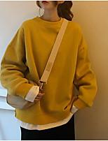 Недорогие -Тонкая толстовка с длинным рукавом для женщин - сплошного цвета с круглым вырезом фиолетового цвета