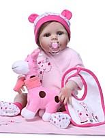 Недорогие -NPKCOLLECTION Куклы реборн Кукла для девочек Девочки 24 дюймовый Силикон Винил - Очаровательный Новый дизайн Искусственные имплантации Голубые глаза Детские Игрушки Подарок