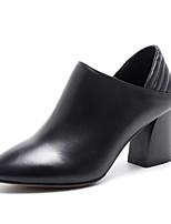 Недорогие -Жен. Наппа Leather Весна Обувь на каблуках На толстом каблуке Закрытый мыс Ботинки Черный
