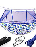 Недорогие -Туристический гамак с москитной сеткой На открытом воздухе Быстровысыхающий, Воздухопроницаемость, Пригодно для носки Сатин / тюль для 2 человека Рыбалка / Походы - Красный, Розовый, Темно-синий
