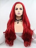 Недорогие -Синтетические кружевные передние парики Жен. Естественные кудри / Крупные кудри Красный Стрижка каскад 130% Человека Плотность волос Искусственные волосы 24 дюймовый Женский Красный Парик Длинные