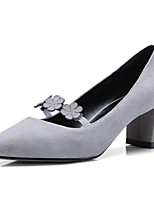 Недорогие -Жен. Замша / Овчина Весна Обувь на каблуках На толстом каблуке Черный / Серый / Темно-зеленый