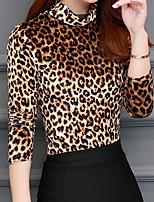 Недорогие -женская стройная футболка больших размеров - леопардовая шея