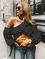 Недорогие -женская тонкая блузка - сплошной цвет с плеча