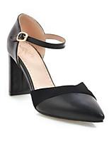 Недорогие -Жен. Полиуретан Весна Обувь на каблуках На толстом каблуке Черный / Бежевый